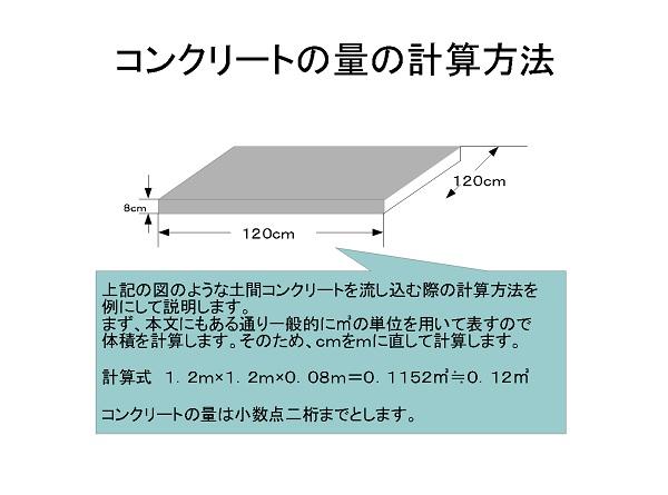 コンクリートの計算方法