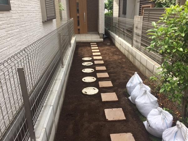 土の鋤取り状況